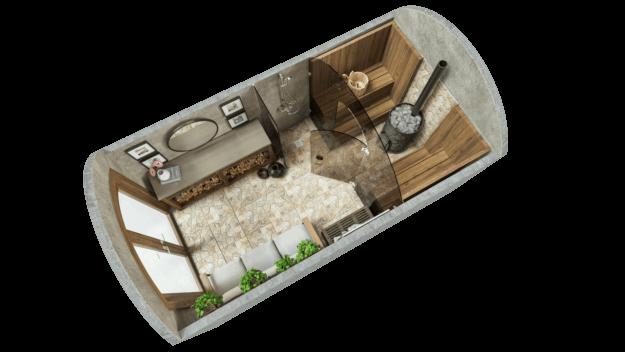 Sauna 9,7 m² STANDARD (Ausführung mit Glas)