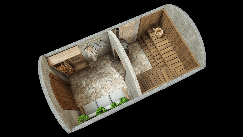 Sauna 9,7 m² STANDARD-LIEFERPAKET