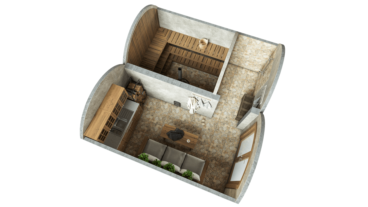 Grottensauna 19,4 m² STANDARD Angebot (Glasausführung)